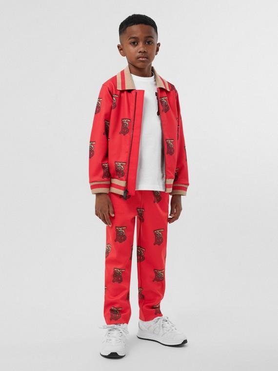 Track jacket de neoprene com monograma (Vermelho Intenso)