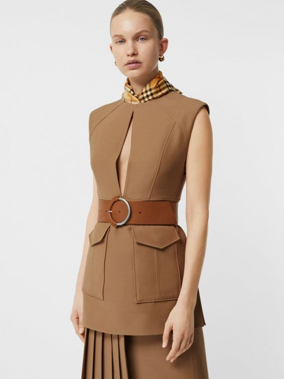 Keyhole Detail Sleeveless Wool Silk Top in Camel