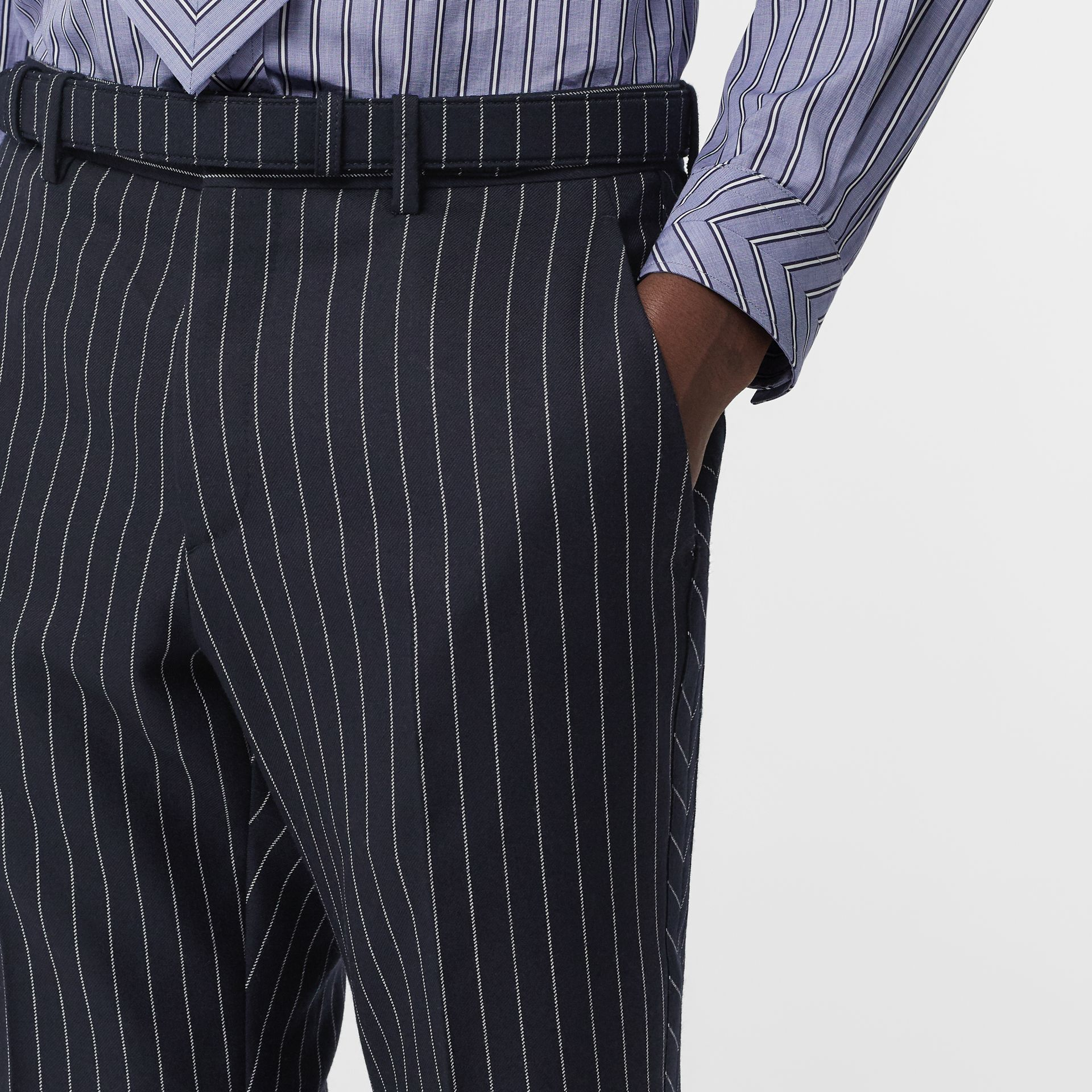 Classic Fit Pinstriped Wool Tailored Trousers in Dark Navy/white | Burberry Australia - gallery image 1