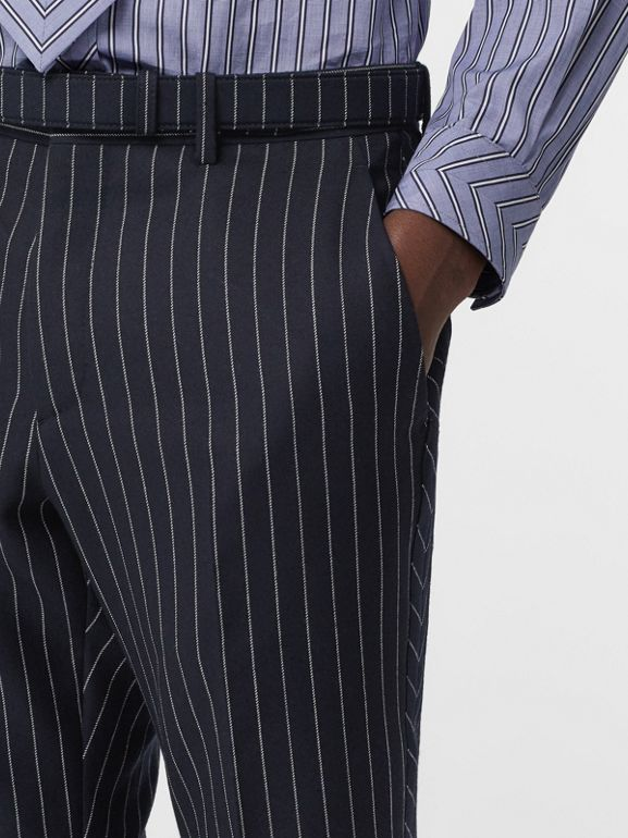 Classic Fit Pinstriped Wool Tailored Trousers in Dark Navy/white | Burberry Canada - cell image 1