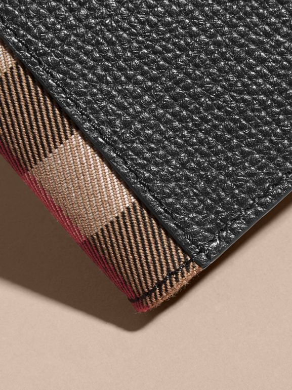 Grainy Leather and House Check Bifold Wallet in Black | Burberry - cell image 1