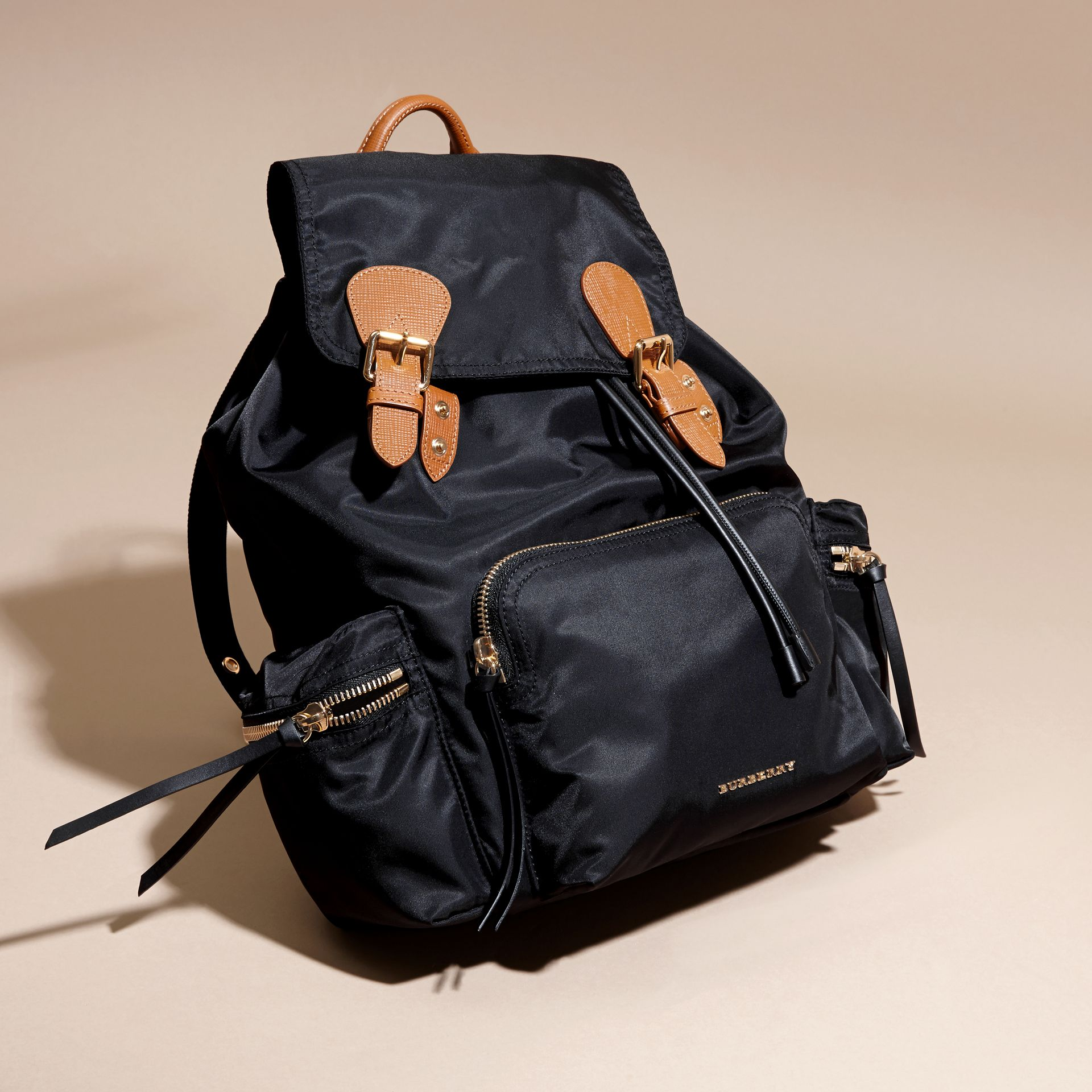 The Large Rucksack in Technical Nylon and Leather in Black - Women | Burberry - gallery image 8
