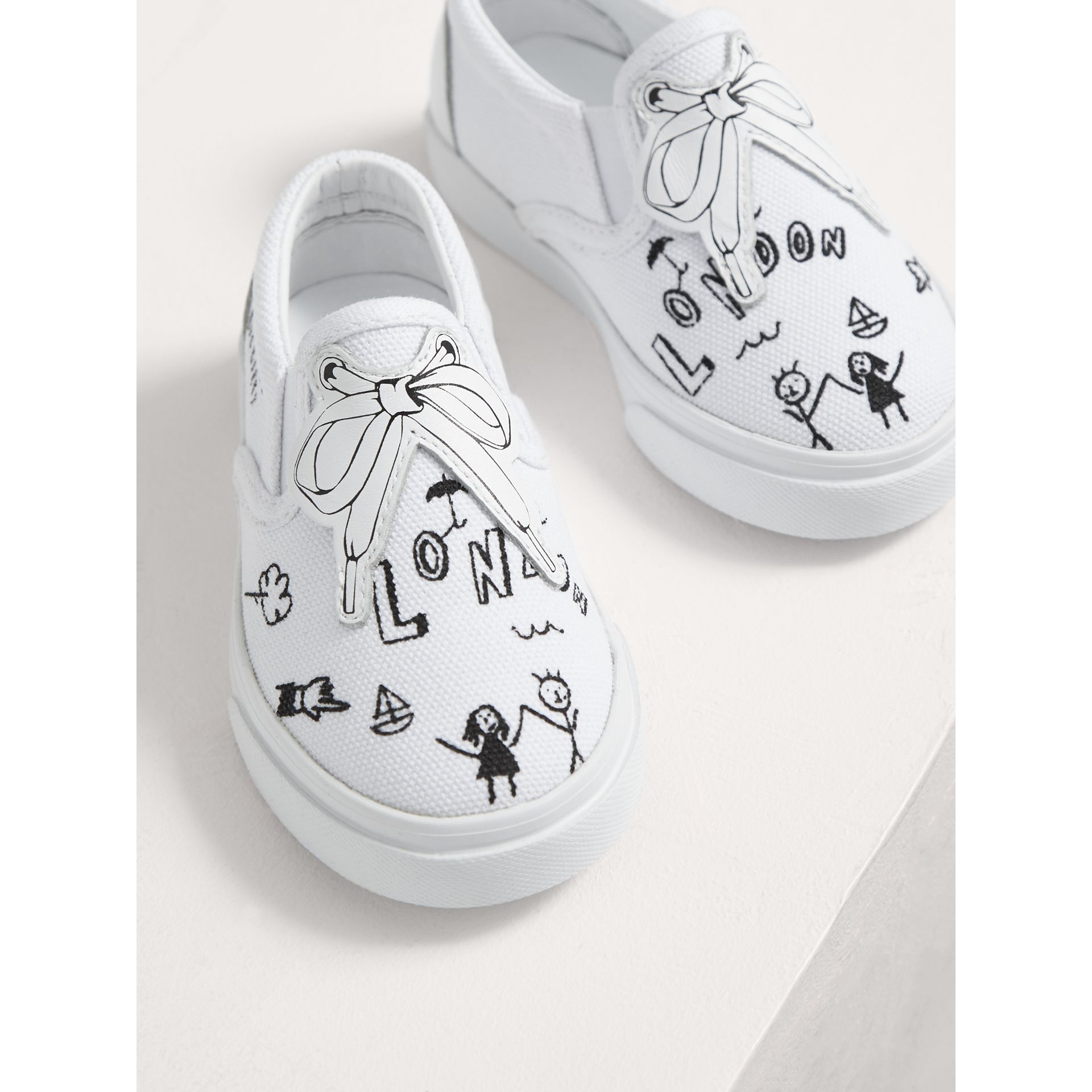 Doodle Print Slip-on Trainers in Optic White | Burberry - gallery image 4