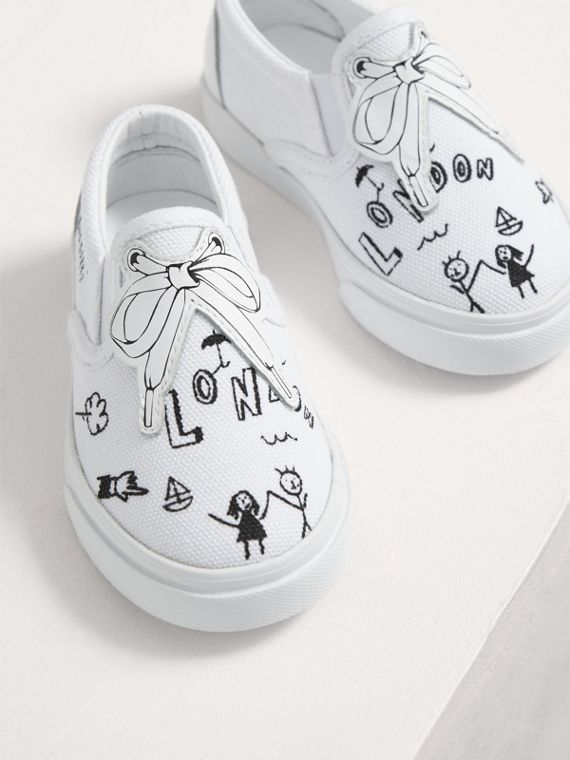 Doodle Print Slip-on Trainers in Optic White | Burberry - cell image 3