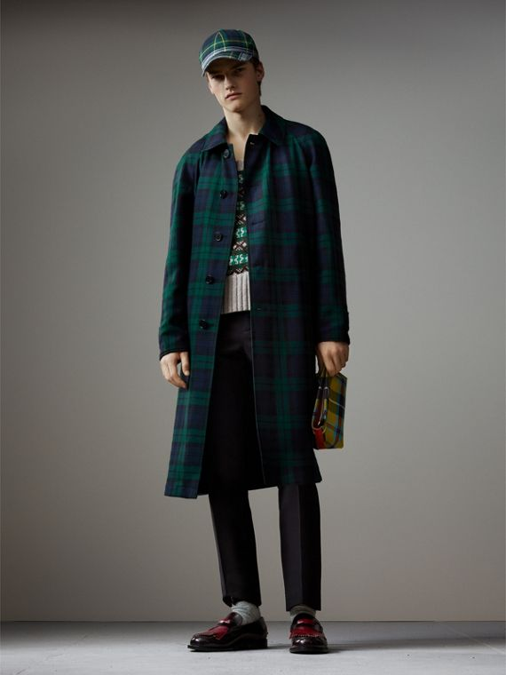 Reversible Tartan Wool and Cotton Gabardine Car Coat in Navy