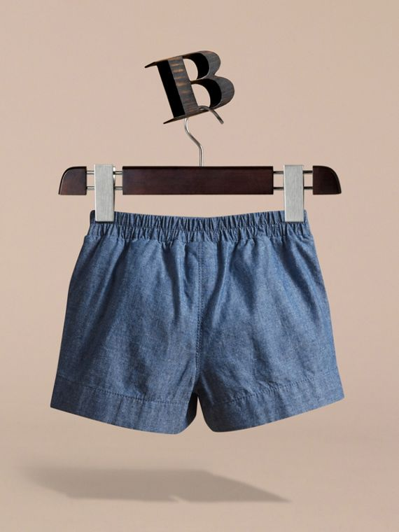 Button Detail Cotton Chambray Shorts - cell image 3