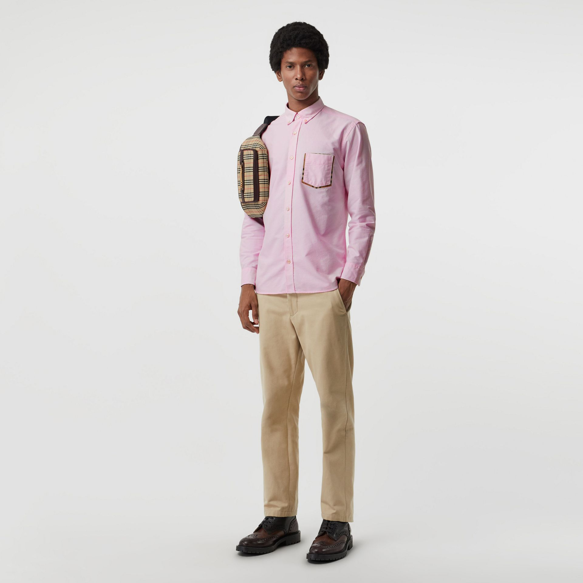 Check Detail Cotton Oxford Shirt in Pale Pink - Men | Burberry - gallery image 0