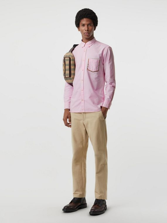 Check Detail Cotton Oxford Shirt in Pale Pink