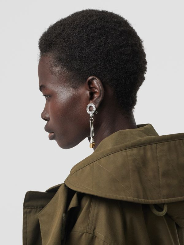 Palladium and Gold-plated Hoof Drop Earrings in Palladium/light - Women | Burberry Hong Kong S.A.R - cell image 2