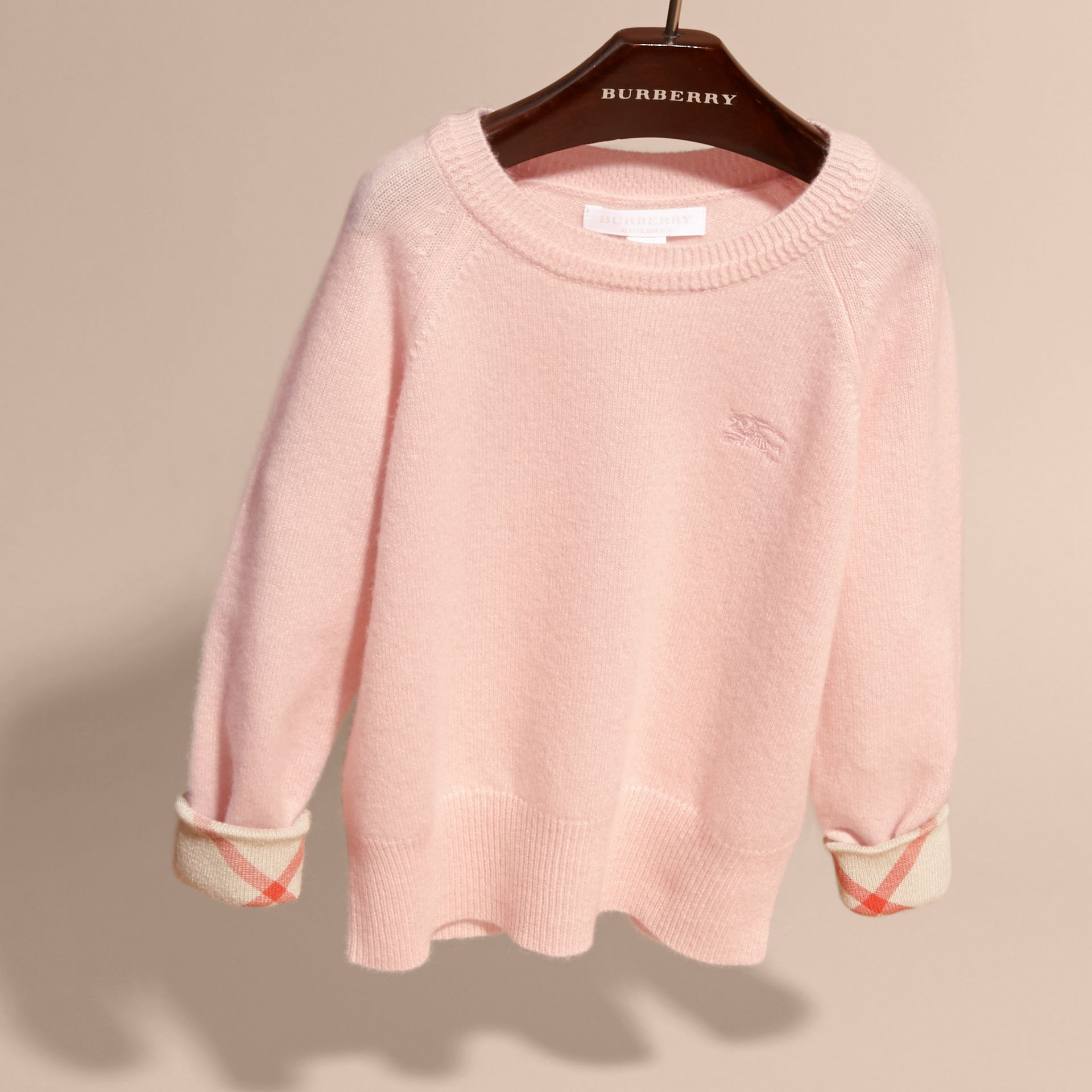 Check Cuff Cashmere Sweater in Blossom - gallery image 3