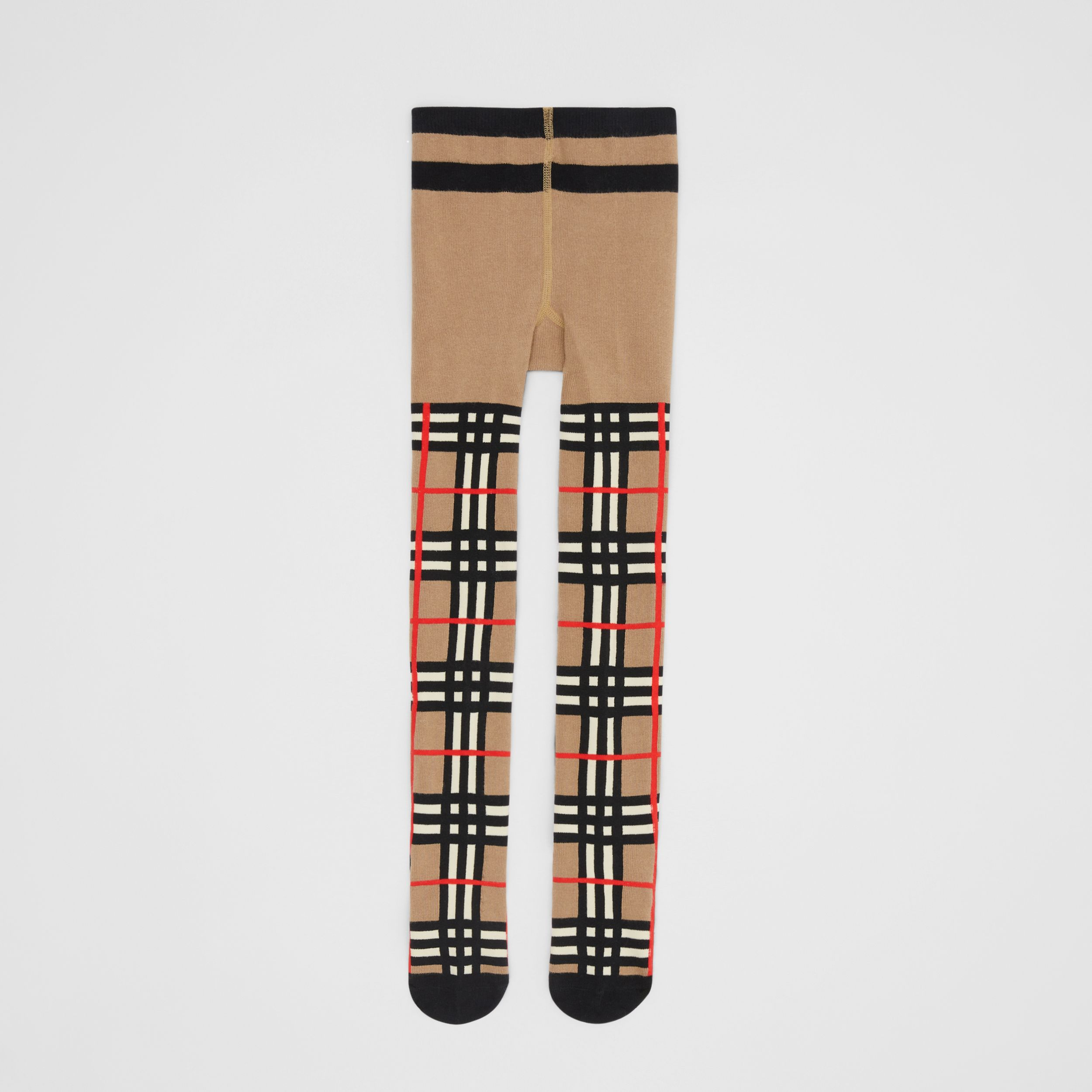 Collants en coton mélangé check en intarsia (Beige D'archive) - Enfant | Burberry - 4