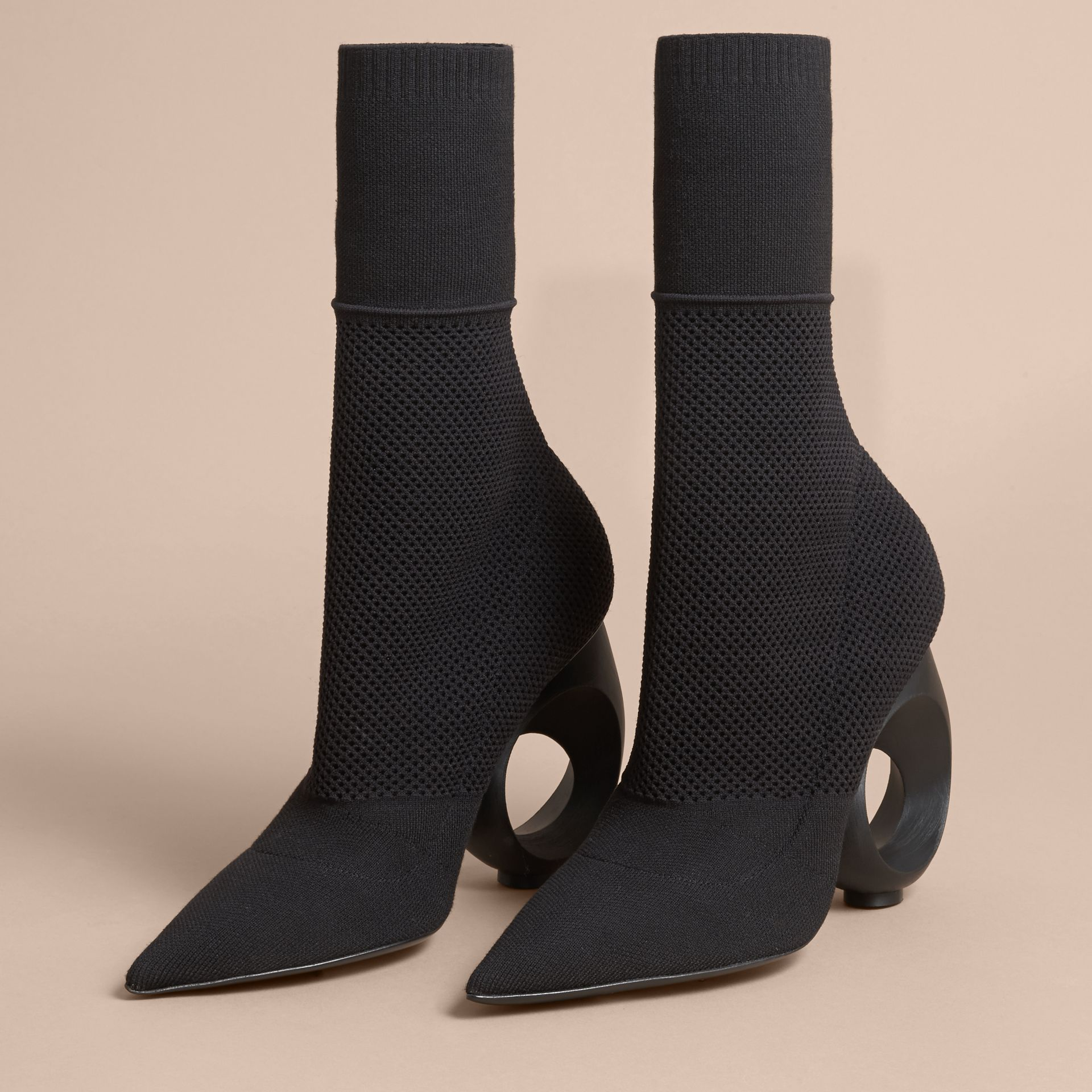 Mid-calf Knitted Boots with Sculpted Heel Black - gallery image 4