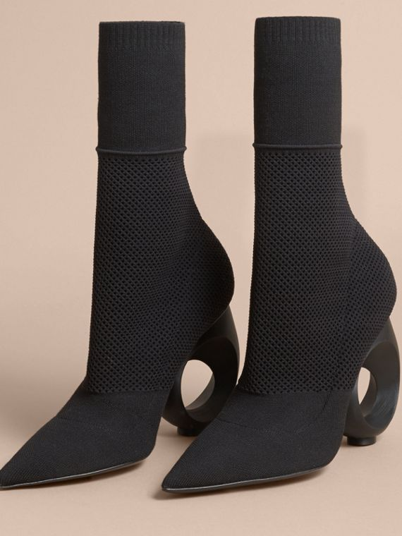 Mid-calf Knitted Boots with Sculpted Heel in Black - Women | Burberry - cell image 3