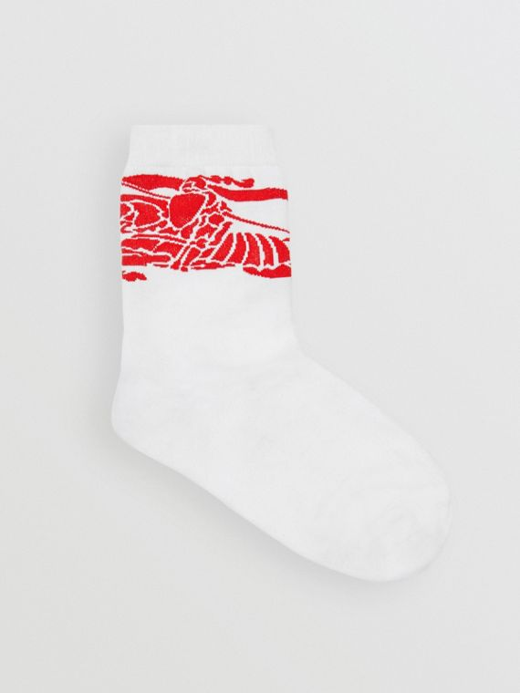 EKD Intarsia Ankle Socks in Rust Red/white
