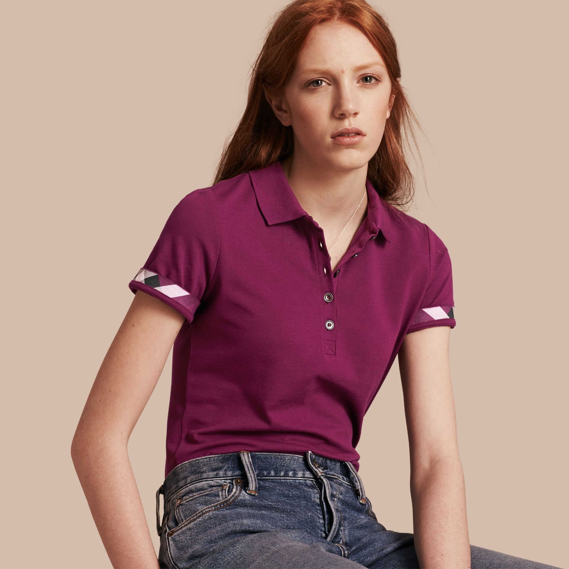 Check Trim Stretch Cotton Piqué Polo Shirt in Magenta Pink - gallery image 1