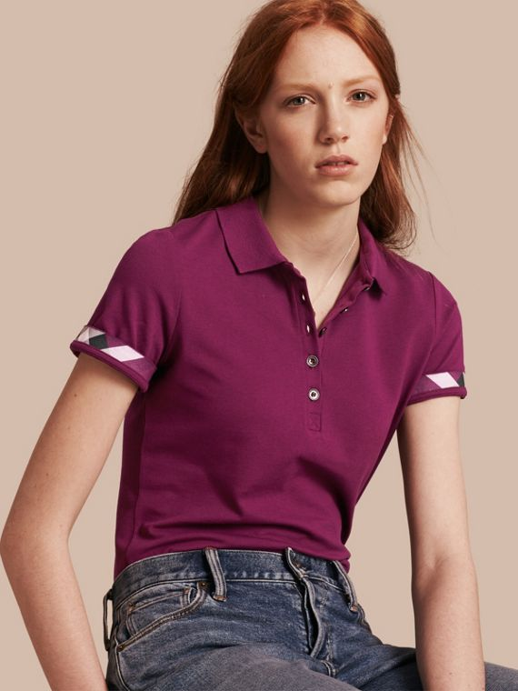 Check Trim Stretch Cotton Piqué Polo Shirt in Magenta Pink - Women | Burberry