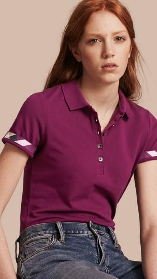 Check Trim Stretch Cotton Piqué Polo Shirt