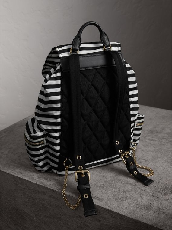 The Medium Rucksack with Pallas Heads and Helmet Appliqué in Black/white - Women | Burberry United States - cell image 3