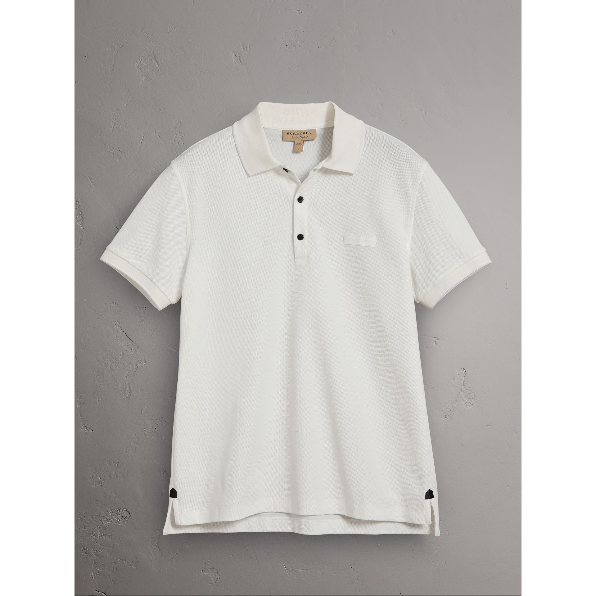 Cotton Piqué Polo Shirt in White - Men | Burberry United Kingdom - gallery image 3