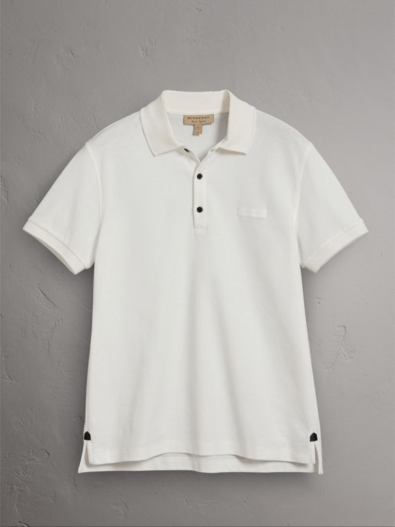 Cotton Piqué Polo Shirt in White - Men | Burberry Canada - cell image 3