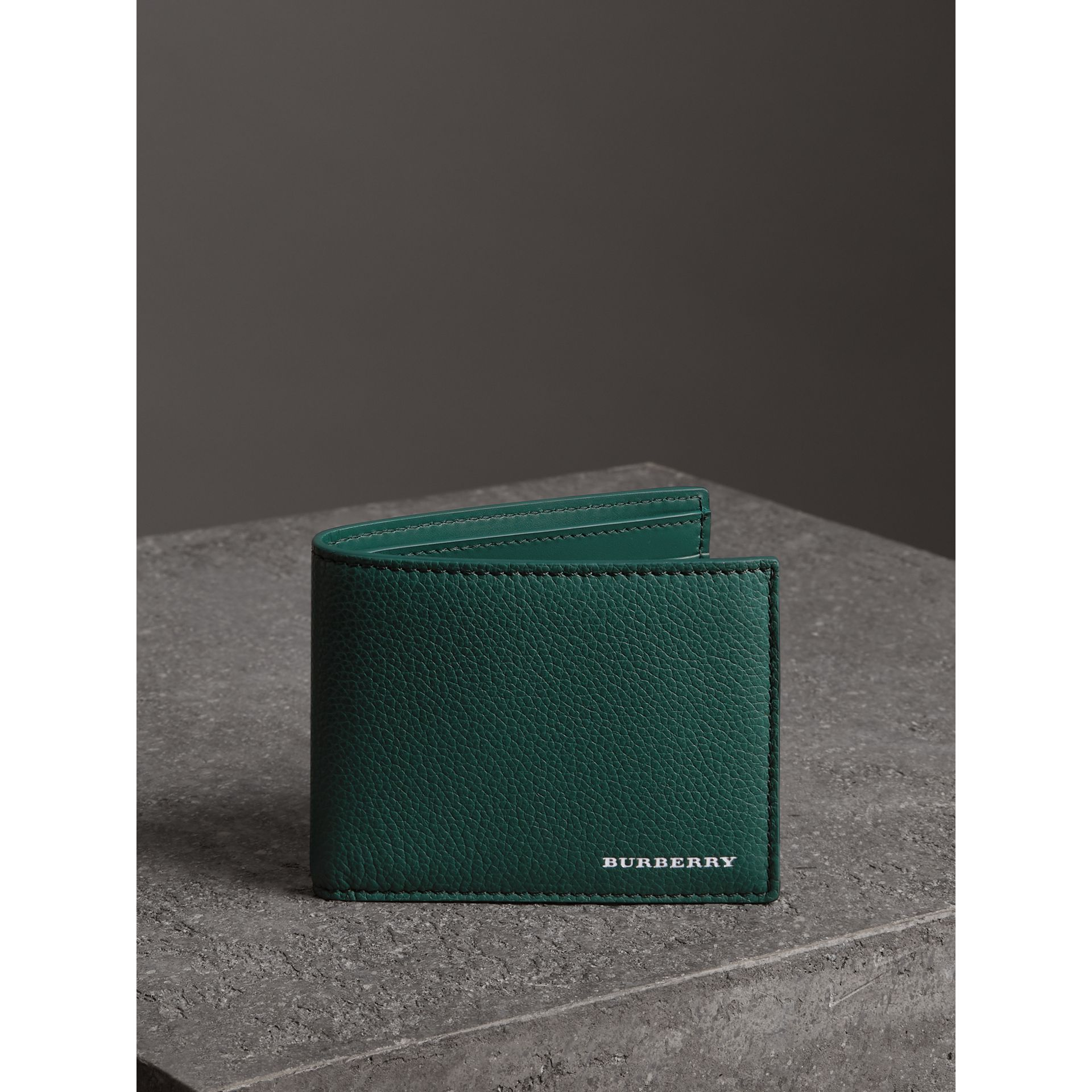 Grainy Leather Bifold Wallet in Dark Cyan - Men | Burberry - gallery image 4