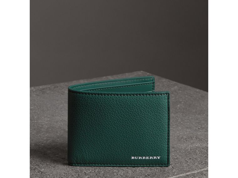 Grainy Leather Bifold Wallet in Dark Cyan - Men | Burberry United States - cell image 4