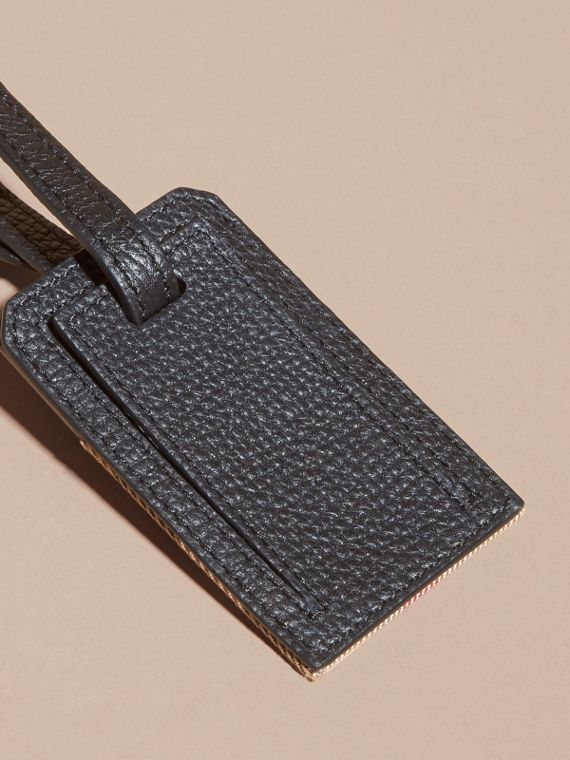 Leather and House Check Luggage Tag Black - cell image 3