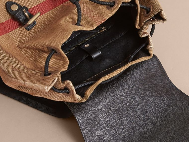 The Large Rucksack in Canvas Check and Leather in Classic - Men | Burberry - cell image 4