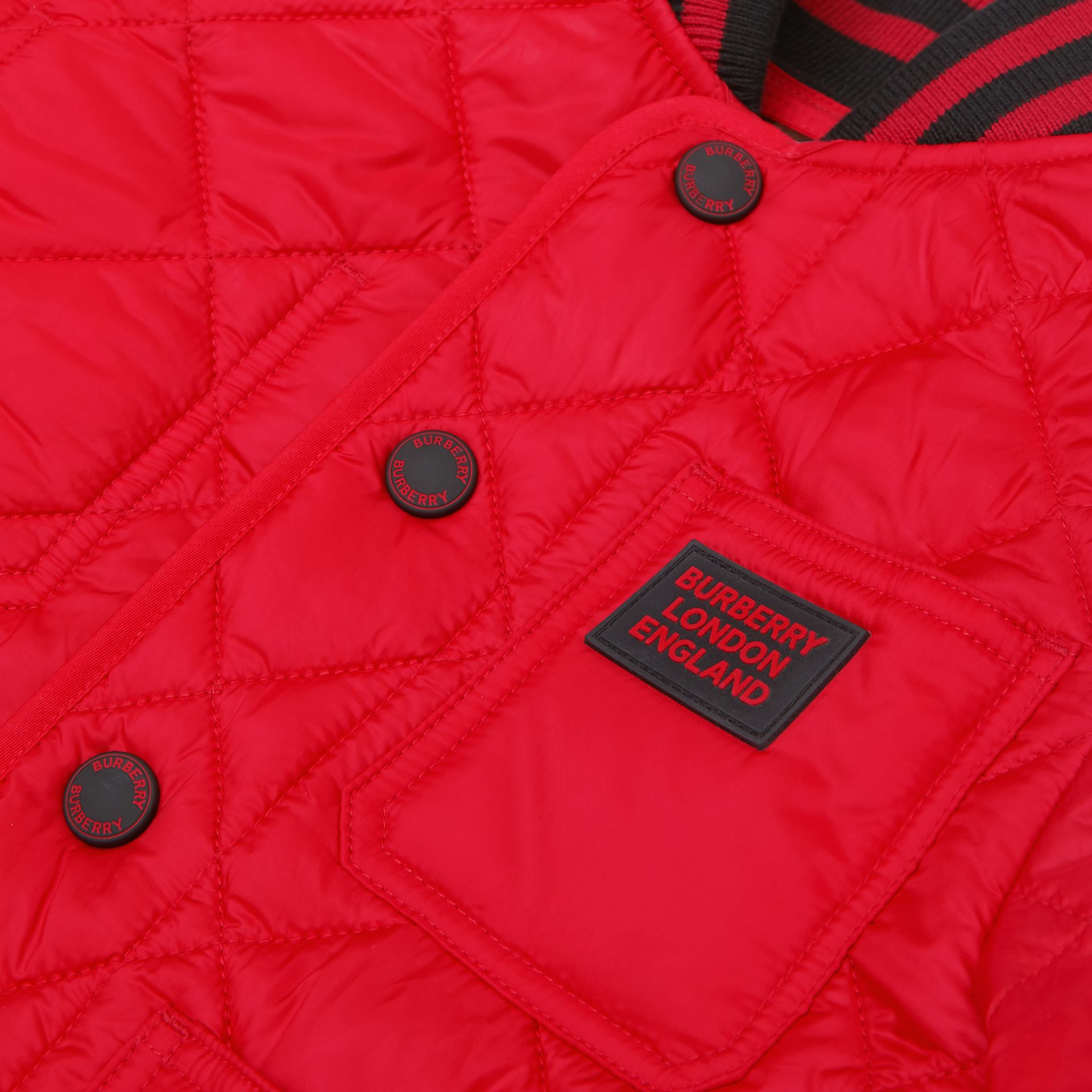 Recycled Polyester Diamond Quilted Jacket in Bright Red | Burberry United Kingdom - gallery image 1