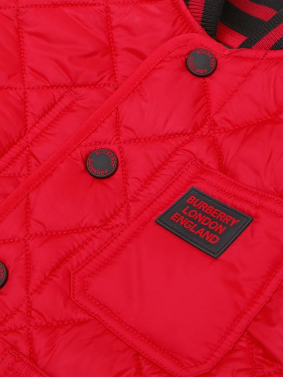 Recycled Polyester Diamond Quilted Jacket in Bright Red | Burberry United Kingdom - cell image 1