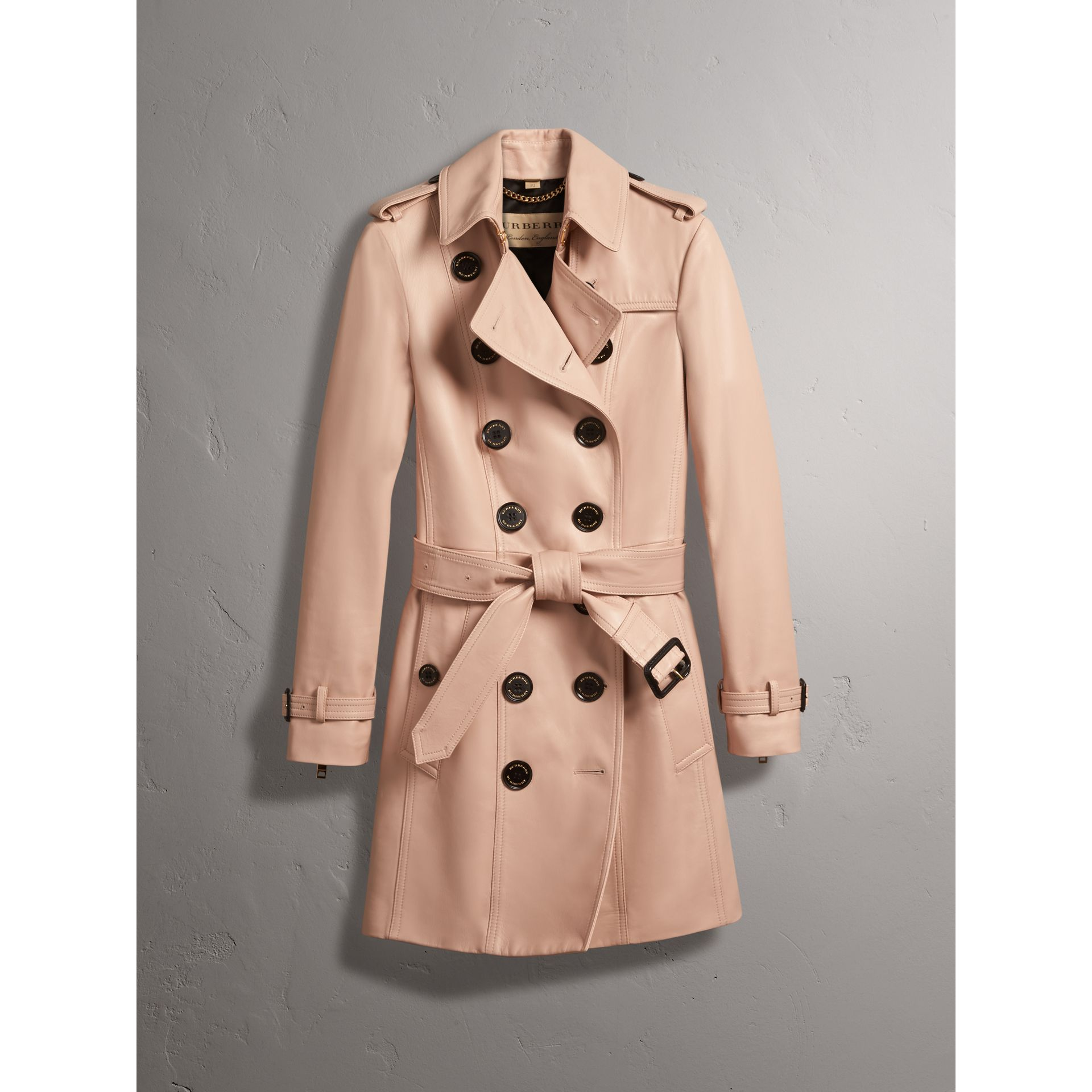 Lambskin Trench Coat in Pale Nude - Women | Burberry - gallery image 3