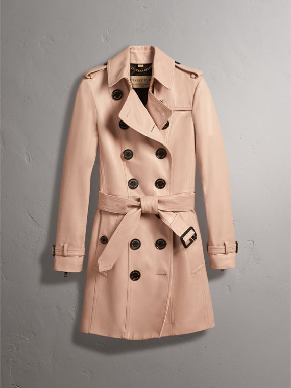 Lambskin Trench Coat in Pale Nude - Women | Burberry - cell image 3