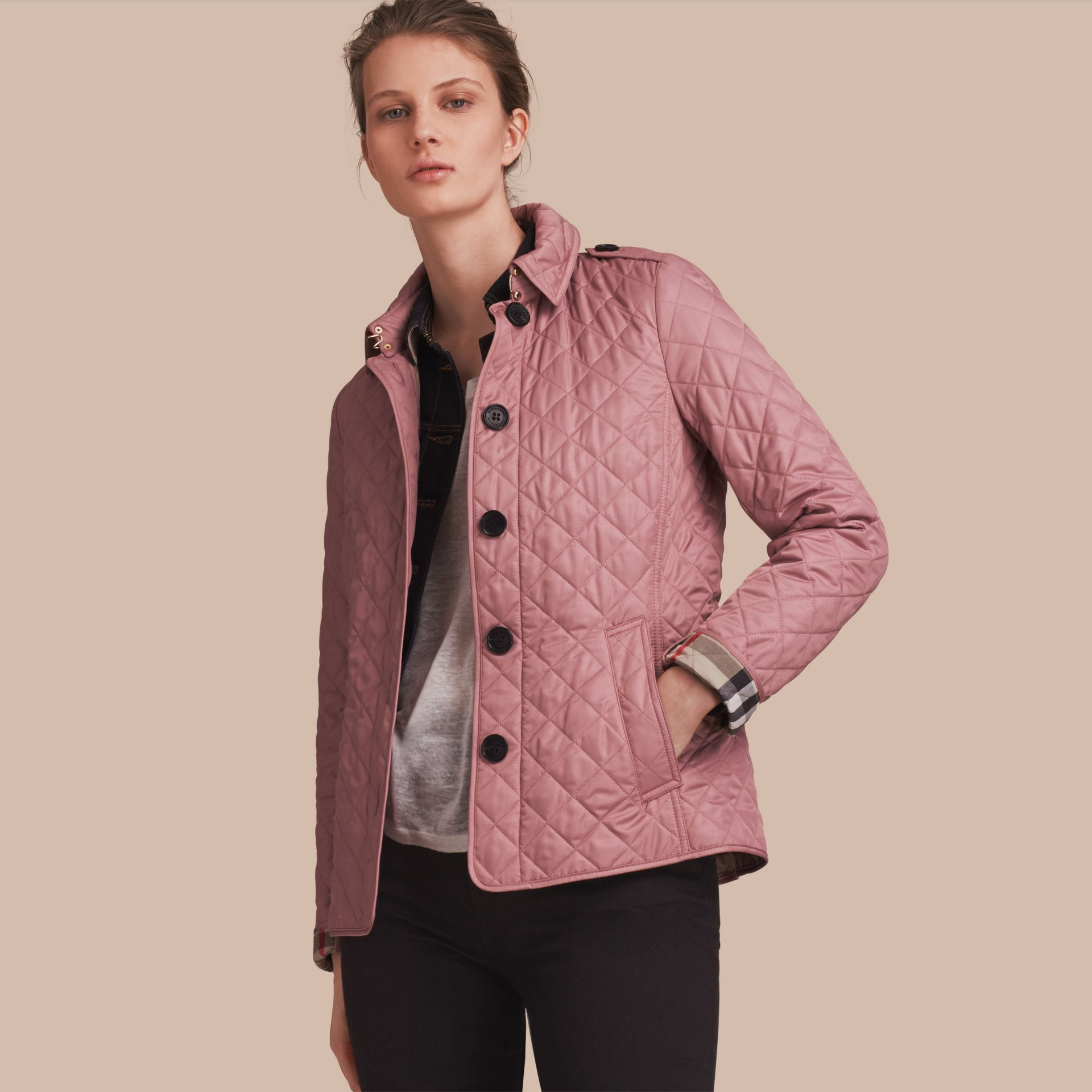 Diamond Quilted Jacket in Vintage Rose - gallery image 1