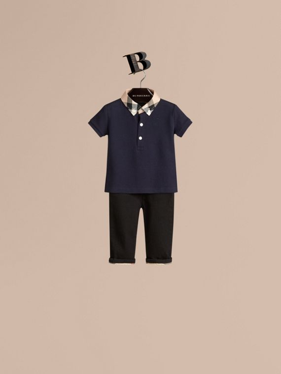 Check Collar Polo Shirt True Navy