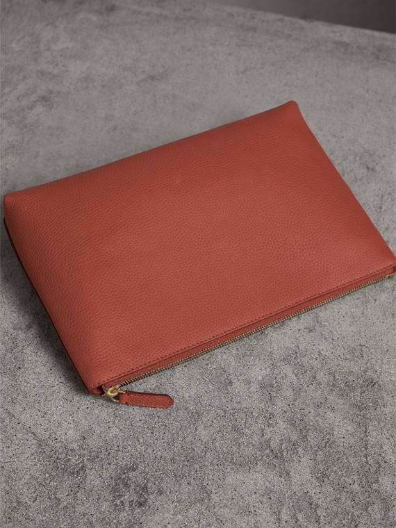 Large Embossed Leather Zip Pouch in Chestnut Brown | Burberry - cell image 2