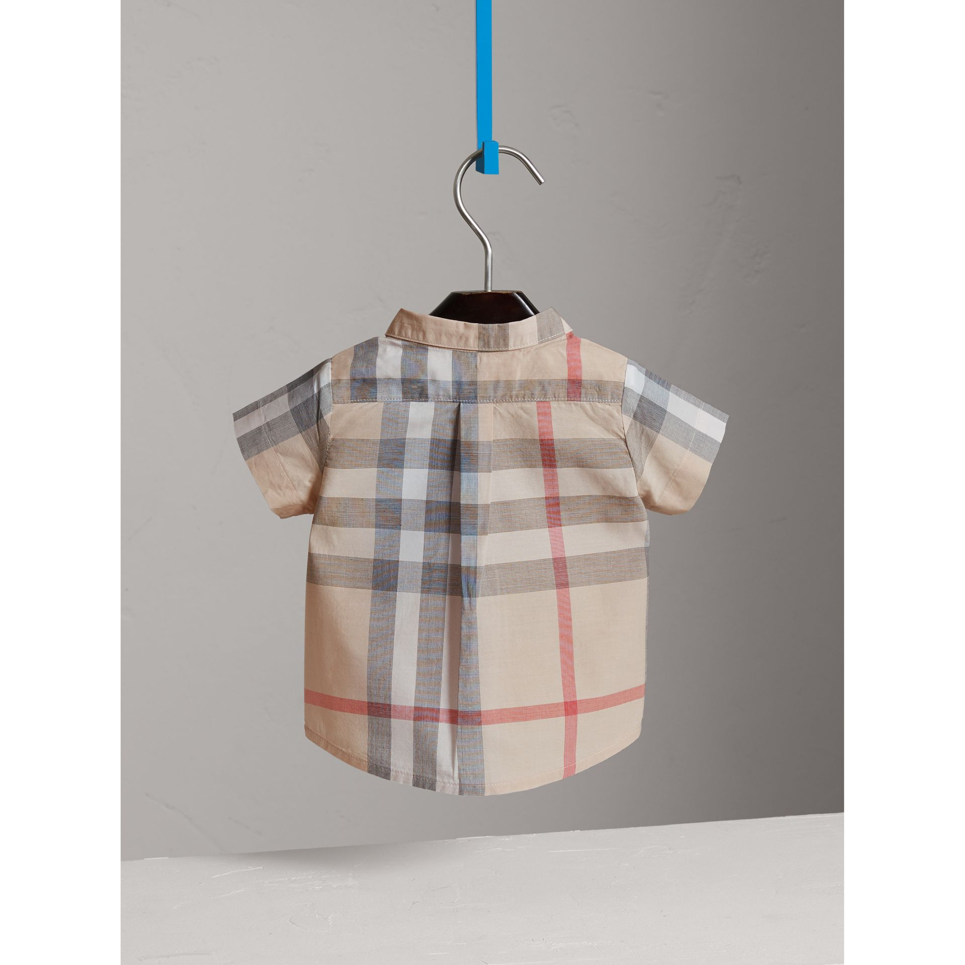 Washed Check Cotton Short Sleeve Shirt in Pale Classic - Boy | Burberry - gallery image 4