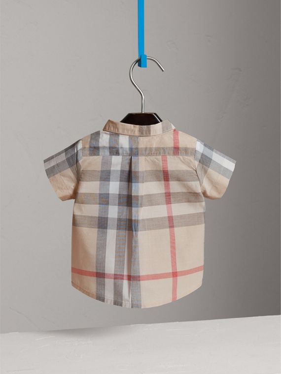 Washed Check Cotton Short Sleeve Shirt in Pale Classic - Boy | Burberry - cell image 3