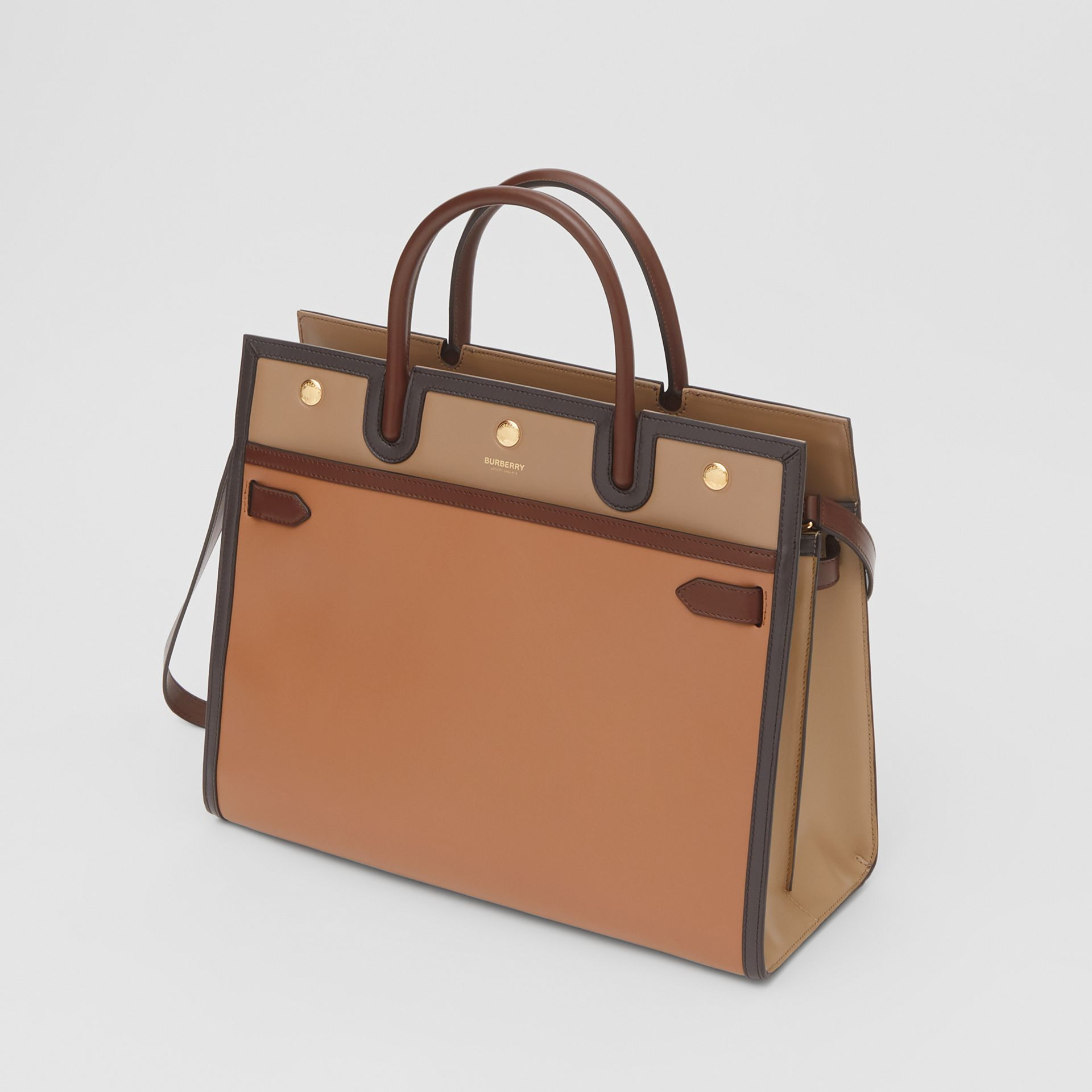 Medium Colour Block Leather Two-handle Title Bag in Soft Fawn - Women | Burberry United States - gallery image 3