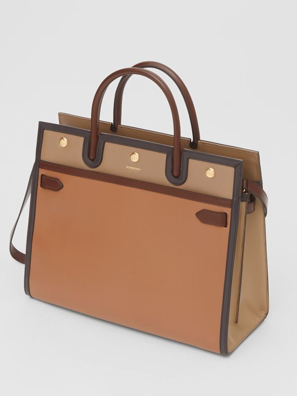 Medium Colour Block Leather Two-handle Title Bag in Soft Fawn - Women | Burberry United States - cell image 3