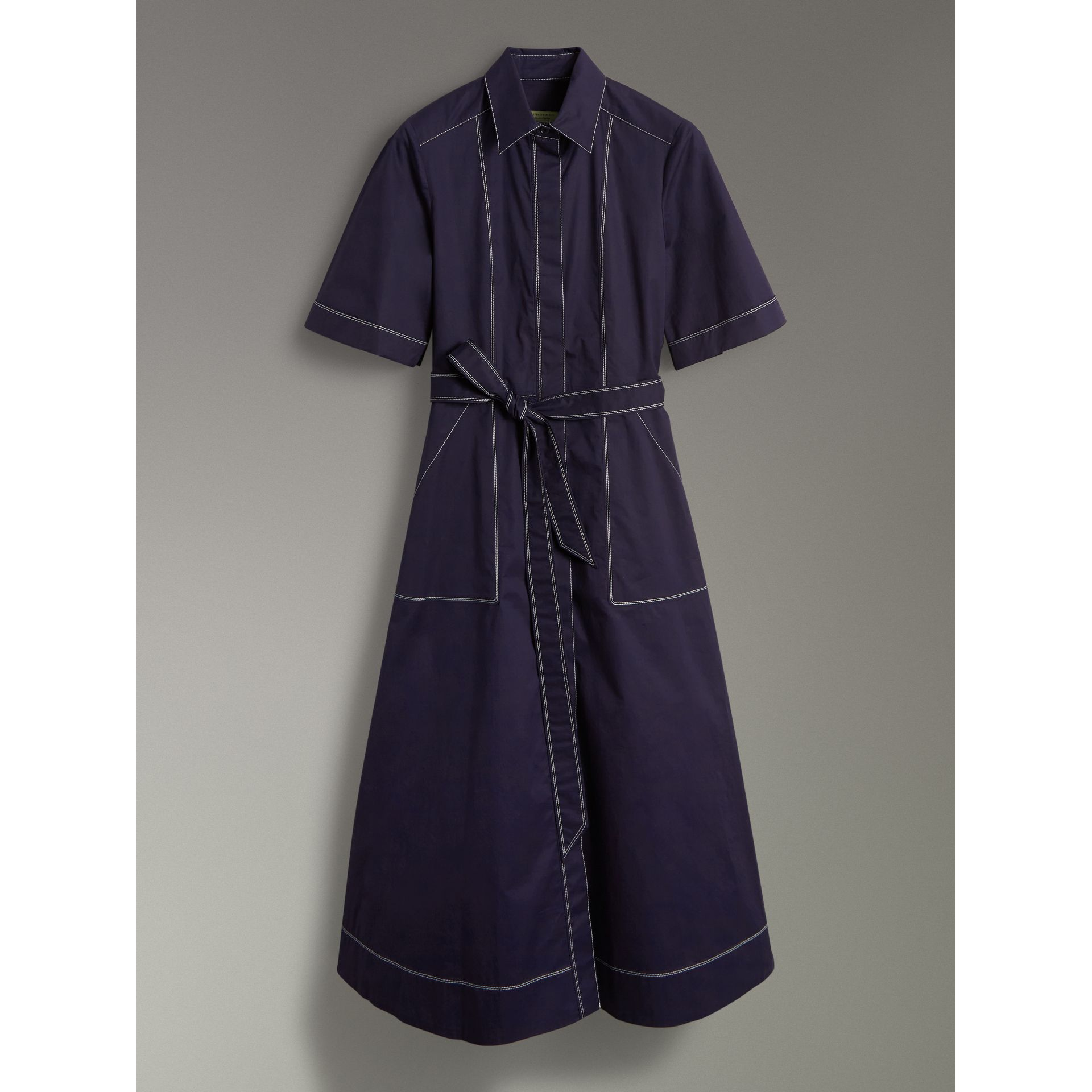 Topstitch Detail Stretch Cotton Dress in Navy - Women | Burberry Canada - gallery image 3