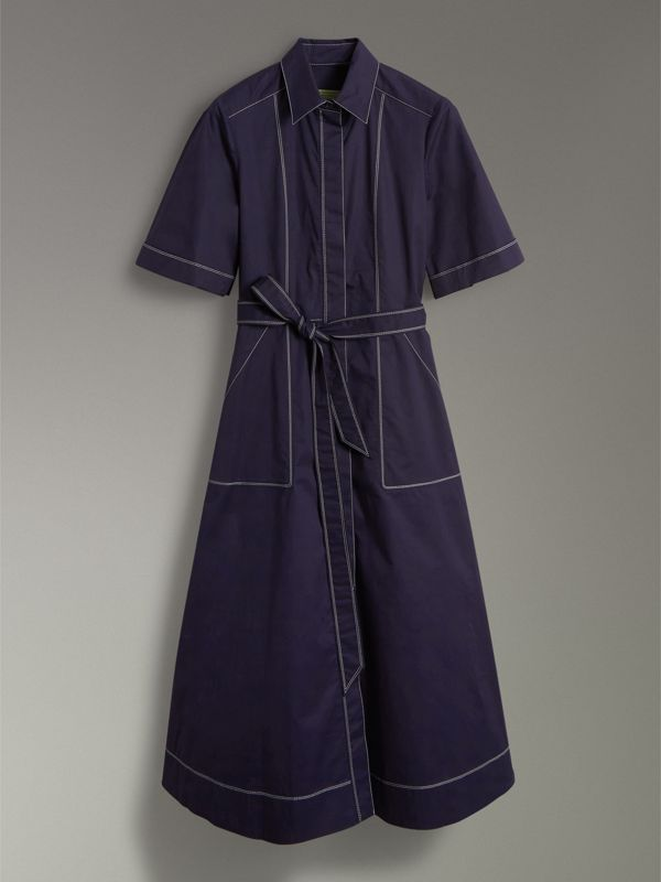 Topstitch Detail Stretch Cotton Dress in Navy - Women | Burberry - cell image 3