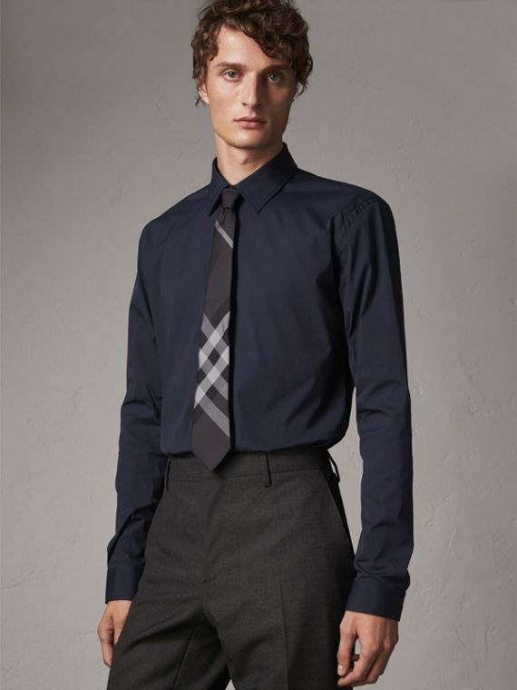 Modern Fit Stretch Cotton Shirt in Navy