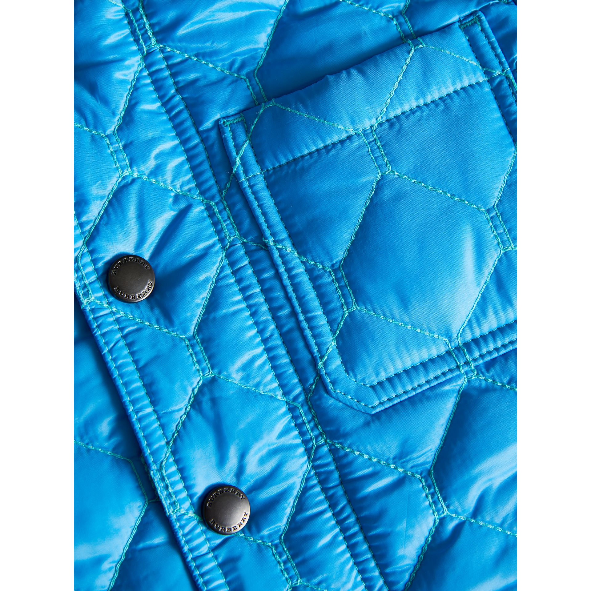 Contrast Topstitch Detail Quilted Jacket in Cyan Blue | Burberry - gallery image 1