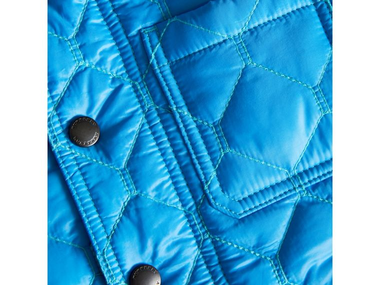 Contrast Topstitch Detail Quilted Jacket in Cyan Blue - Boy | Burberry - cell image 1
