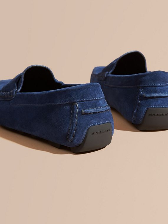 Suede Loafers with Engraved Check Detail in Dragonfly Blue - cell image 3