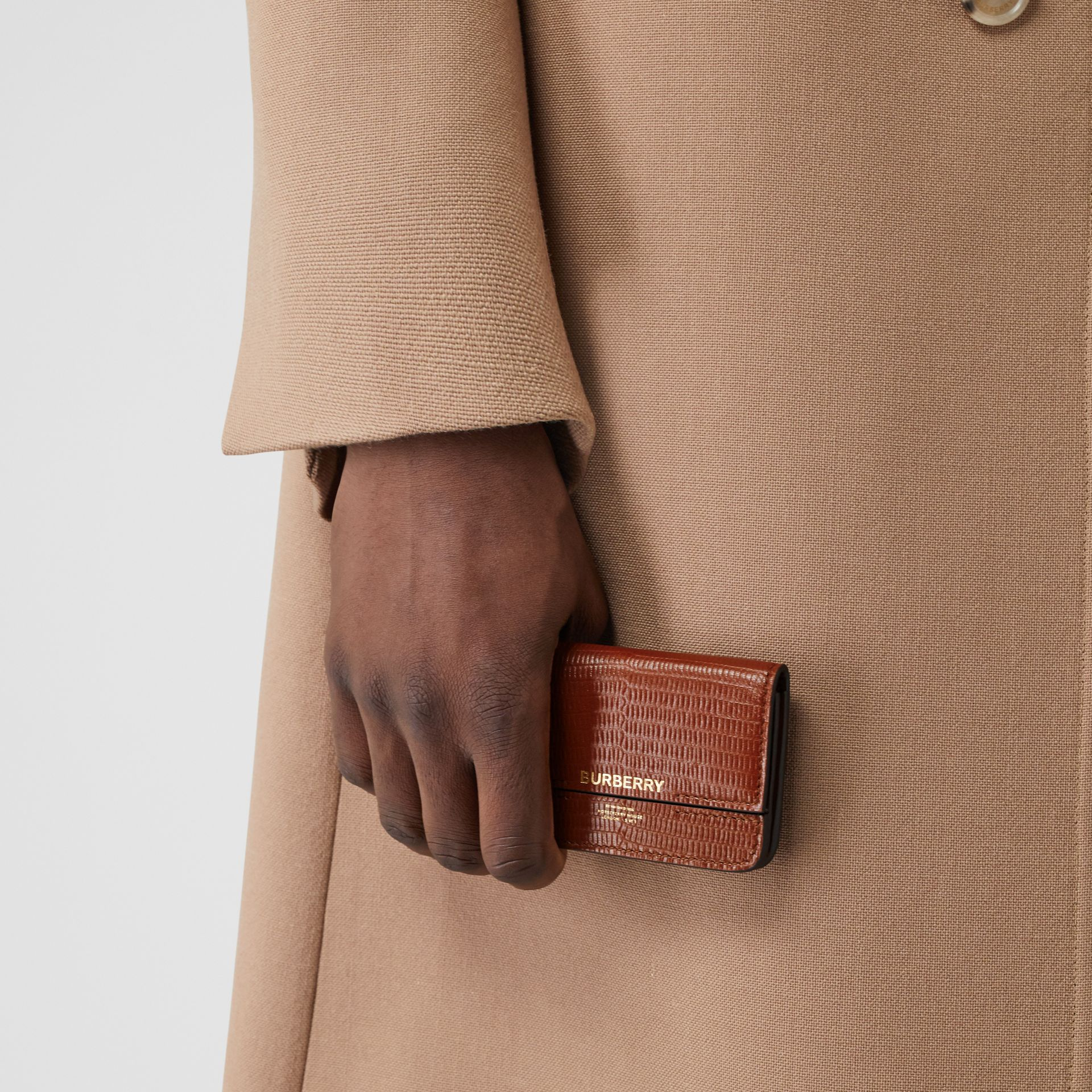 Embossed Deerskin Card Case with Chain Strap in Tan - Women | Burberry - gallery image 3