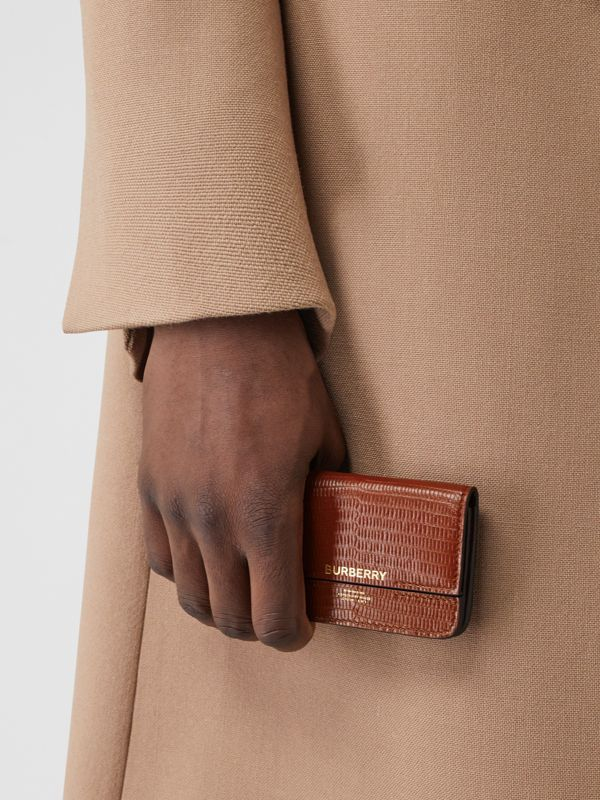 Embossed Deerskin Card Case with Chain Strap in Tan - Women | Burberry - cell image 3