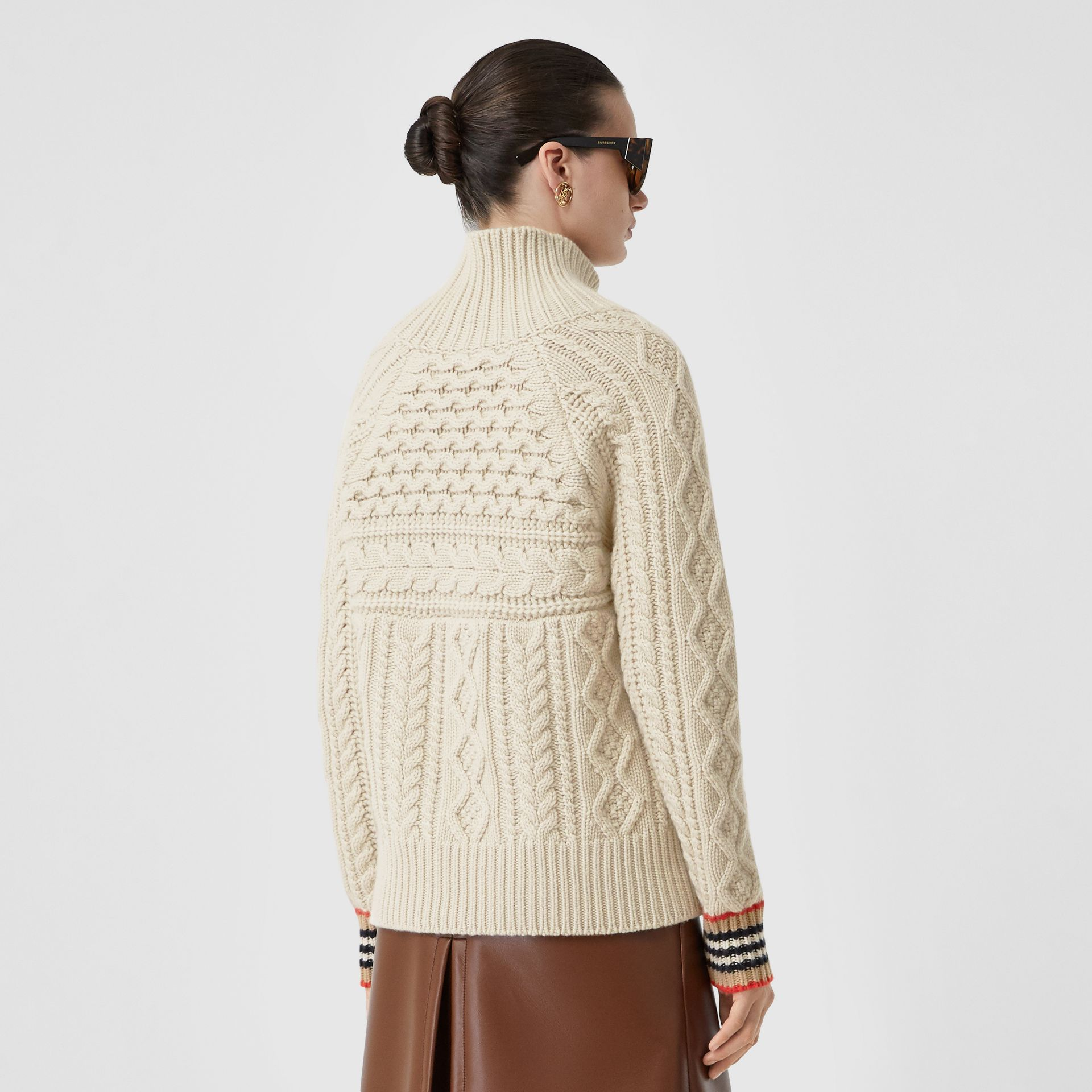 Icon Stripe Cuff Cable Knit Cashmere Sweater in Natural White - Women | Burberry - gallery image 2