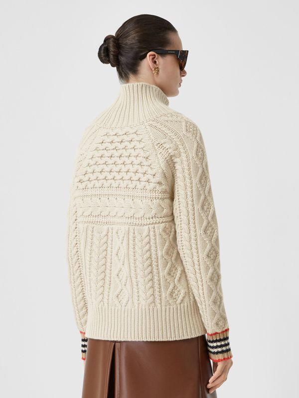 Icon Stripe Cuff Cable Knit Cashmere Sweater in Natural White - Women | Burberry - cell image 2