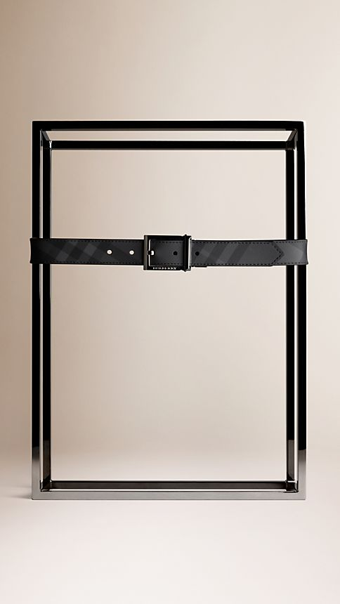 Black Charcoal Check Reversible Leather Belt - Image 2